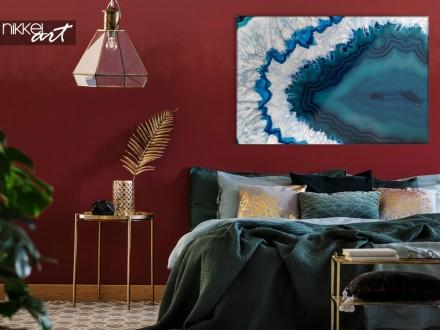 Glazen Schilderij met Blauw Kristal
