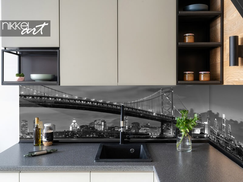 Glazen keukenachterwand met skyline New York