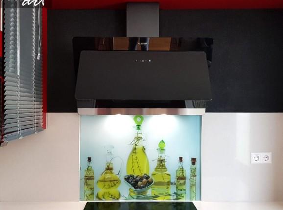 Glazen keukenachterwand olijfolie