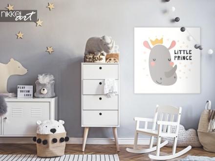 Kinderkamer met Illustratie Neushoorn op Canvas