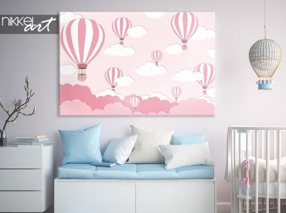 Canvas met roze luchtballonnen