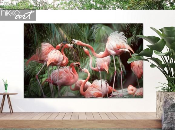 Tuinposter met flamingo's