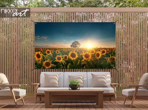 Tuinposter met zonnebloemen