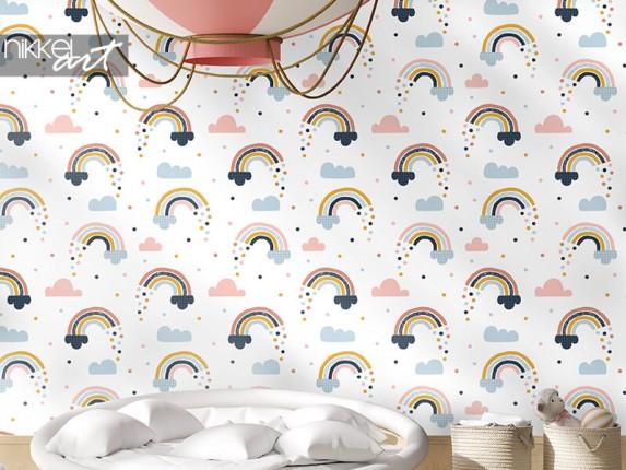 Scandinavisch behang met regenbogen