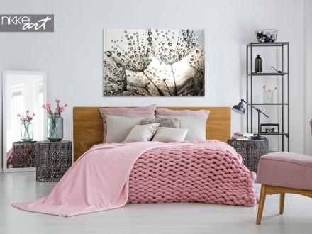 Slaapkamer met Foto Paardenbloem op Canvas