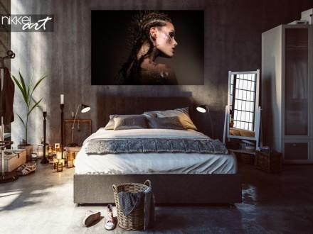 Slaapkamer met Foto Beauty Model op Aluminium