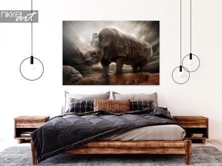 Slaapkamer met Foto Neushoorn op Aluminium