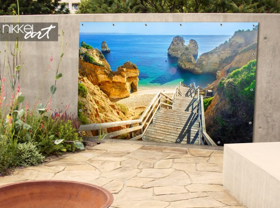 Zandstrand Algarve op tuinposter