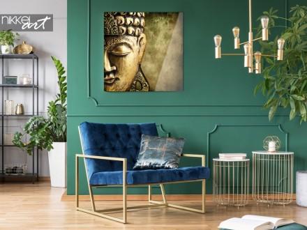 Woonkamer met Foto van Boeddha op Plexiglas