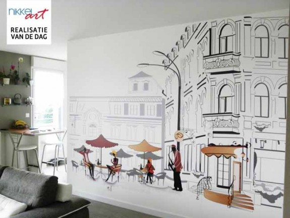 Fotobehang street cafe in sketches
