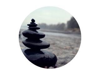 Zen stone pile in river