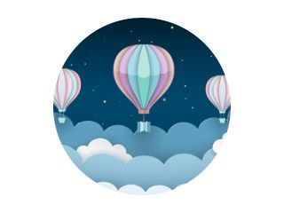 Hot air balloons, stars and clouds on the dark night sky background. Night scene background. Paper craft style. Vector Illustration.