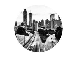 Black and white skyline of Atlanta, Georgia, USA