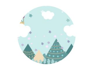Kids room wallpaper with graphic illustration winter forest, mountain, and air balloon. Can use for print on the wall, pillows, decoration kids interior, baby wear, shirts, and greeting card