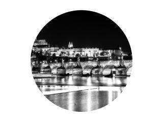 Charles Bridge Vltava River night Czechoslovakia b&w