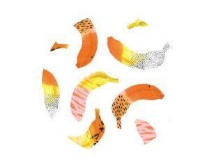 Fun bananas print in memphis style interpretation.