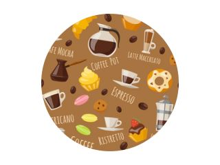 Vector seamless pattern with coffee food and drink elements