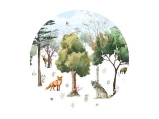 photo wallpapers for children. forest with animals. Watercolor