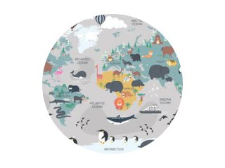 The world map with cartoon animals for kids, nature, discovery and continent name, ocean name, countries name. vector Illustration.