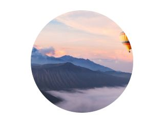 beautiful inspirational landscape with hot air balloon flying in the sky, travel destination