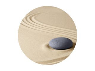 Zen meditation stone garden background. Stone on fine sand standing for balance, harmony concentration and relaxation...