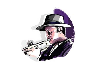 Trumpet player on grunge background