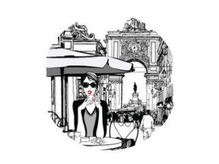 Woman having breakfast in the street of Lisbon