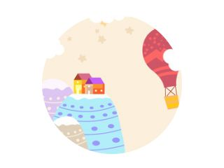Graphic illustration for kids room wallpaper with house sky full of stars, hill, and air balloon. Can use for print on the wall, pillows, decoration kids interior, baby wear, shirts, and greeting card