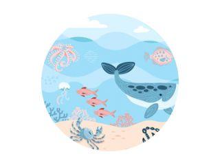 Sea inhabitants. Octopus, whale, fish, crab and algae. Marine life on sea bottom with ankor on sand. Hand drawn flat cartoon background. Underwather world. Vector illustration of Undersea Landscape