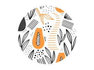 Papaya tropical seamless pattern with leaves for print, fabric, textile. Modern hand drawn fruits background.