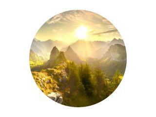 Autumn mountains at sunrise in Switzerland