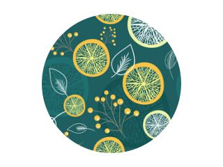Seamless pattern with lemon slice, leaves and branches